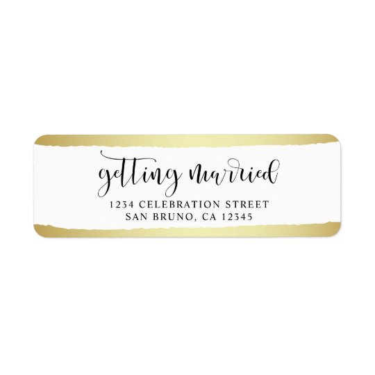 Chic Gold Brush Strokes Getting Married Wedding