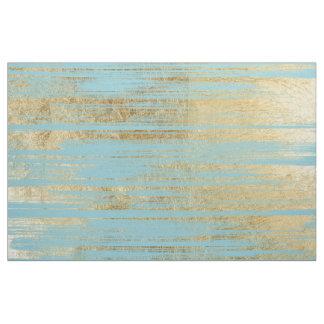 Chic Gold Brushstrokes on Island Paradise Blue Fabric