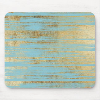 Chic Gold Brushstrokes on Island Paradise Blue Mouse Mat