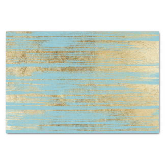 Chic Gold Brushstrokes on Island Paradise Blue Tissue Paper
