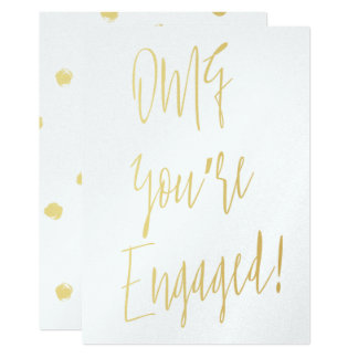 """Chic gold calligraphy """"OMG you're engaged"""" Card"""