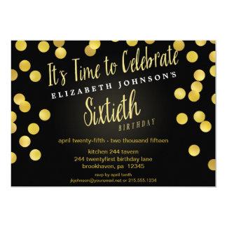 Chic Gold Confetti 60th Birthday Party Invite