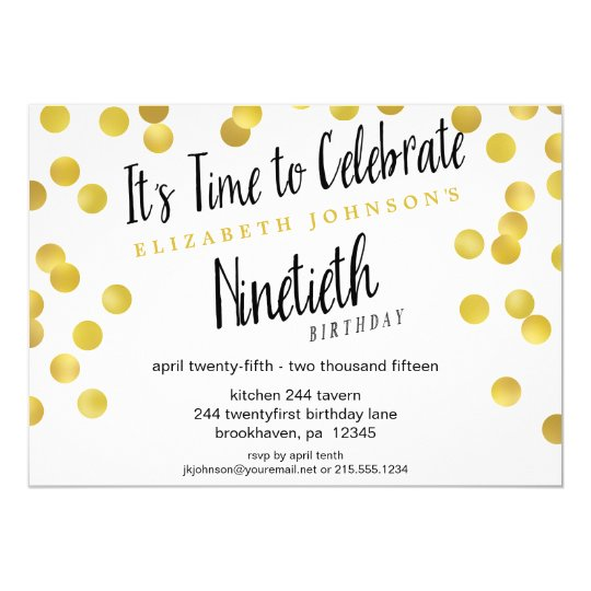 Chic Gold Confetti 90th Birthday Party Invite