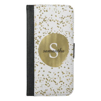 Chic Gold Confetti Dots Monogram iPhone 6/6s Plus Wallet Case