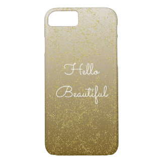 Chic Gold Confetti Sparkles Hello Beautiful iPhone 8/7 Case