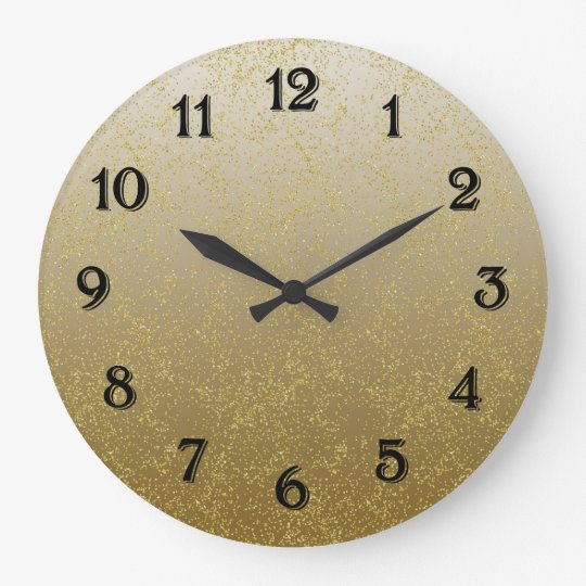 Chic Gold Confetti Sparkles Large Clock