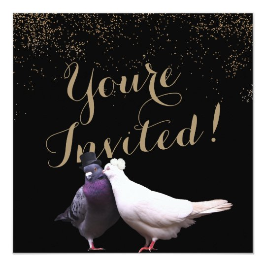 Chic Gold Confetti Wedding Birds Wedding Card