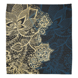 Chic gold floral lace elegant navy blue pattern bandana