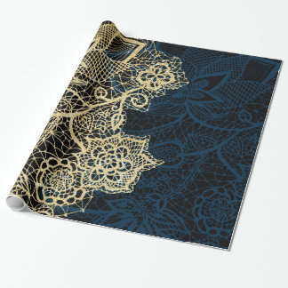 Chic gold floral lace elegant navy blue pattern wrapping paper