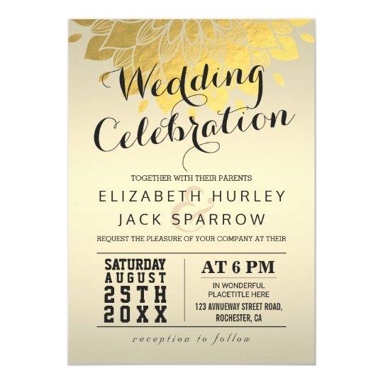 Chic Gold Floral Wedding Celebration Invitation