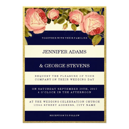 CHIC GOLD FOIL   BOTANICAL WEDDING INVITATION PERSONALIZED ANNOUNCEMENT