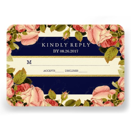 CHIC GOLD FOIL | BOTANICAL WEDDING RESPONSE CARD INVITATIONS