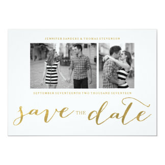 CHIC GOLD FOIL HANDWRITTEN | PHOTO SAVE THE DATE 13 CM X 18 CM INVITATION CARD