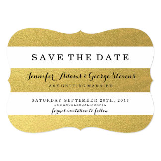 CHIC GOLD FOIL STRIPES SAVE THE DATE 13 CM X 18 CM INVITATION CARD