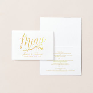 Chic Gold Foil & White Wedding Menu Card Template