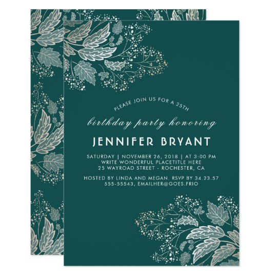 Chic Gold Foliage Teal Elegant Birthday Party Card