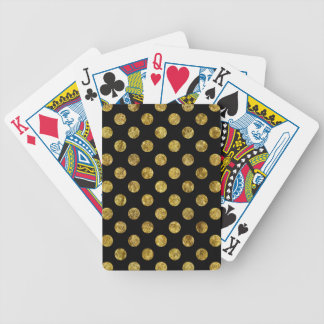 Chic Gold Glam and Black Dots Bicycle Playing Cards