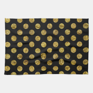 Chic Gold Glam and Black Dots Hand Towels