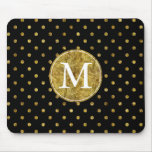 Chic Gold Glam and Black Dots monogram Mouse Pad