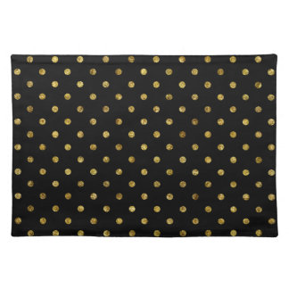Chic Gold Glam and Black Dots Placemat