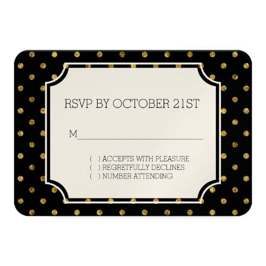 Chic Gold Glam and Black Dots RSVP Card