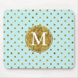 Chic Gold Glam and Blue Dots monogram Mouse Mat