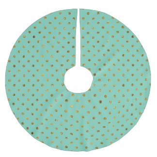 Chic Gold Glam and Mint Dots Brushed Polyester Tree Skirt