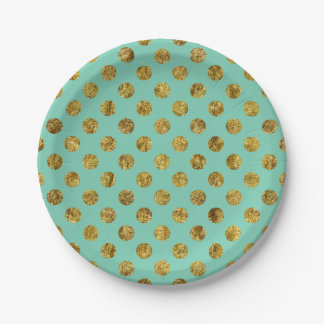 Chic Gold Glam and Mint Dots Paper Plate