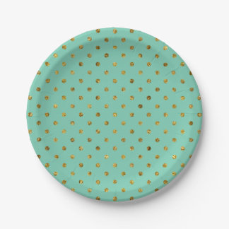 Chic Gold Glam and Mint Polka Dots Paper Plate
