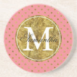 Chic Gold Glam and Pink Dots Monogram Coasters