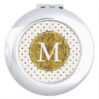 Chic Gold Glam Dots monogram Vanity Mirror