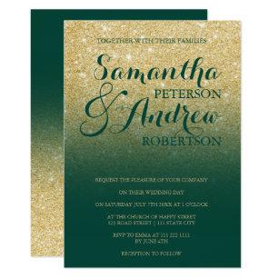 Chic Gold Glitter Emerald Green Wedding Invitation