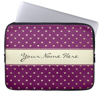 Chic Gold Glitter Hearts on Purple Laptop Sleeve