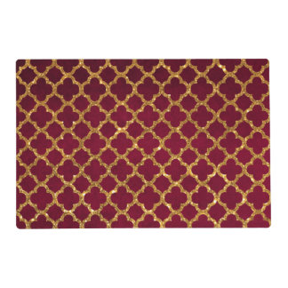 Chic Gold Glitter Quatrefoil Girly Red Burgundy Laminated Placemat
