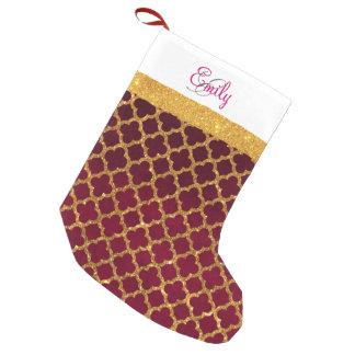 Chic Gold Glitter Quatrefoil Girly Red Burgundy Small Christmas Stocking