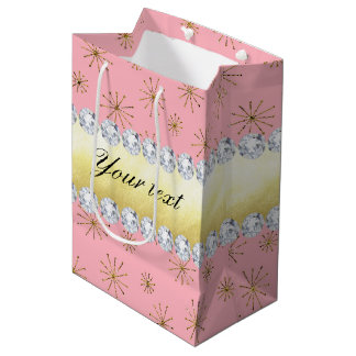 Chic Gold Glitter Snowflakes Pink Medium Gift Bag