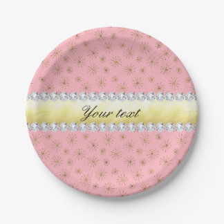 Chic Gold Glitter Snowflakes Pink Paper Plate