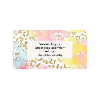 Chic gold leopard pattern watercolor brushstrokes address label