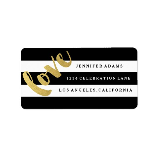 Chic Gold LOVE | Black Stripe Address Labels
