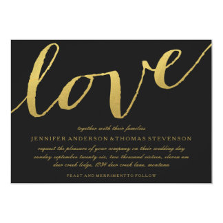 CHIC GOLD LOVE BLACK WEDDING INVITATION
