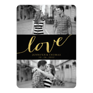CHIC GOLD LOVE | SAVE THE DATE 13 CM X 18 CM INVITATION CARD