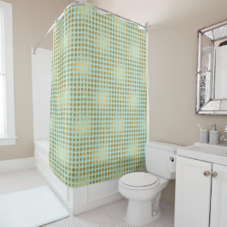 Chic Gold Mint Dots Shower Curtain