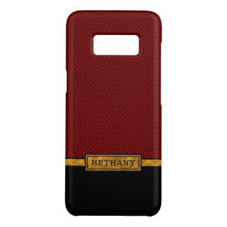 Chic Gold Name and Red Greek Key Pattern Case-Mate Samsung Galaxy S8 Case