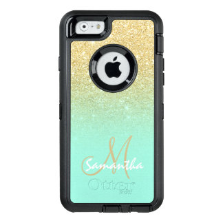 Chic gold ombre mint green block personalized OtterBox defender iPhone case
