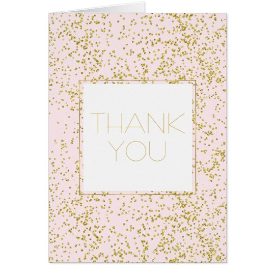 Chic Gold Pink Blush Confetti Sparkle Thank you