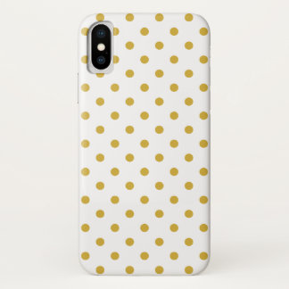 Chic Gold Polka Dots Pattern on White iPhone X Case