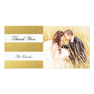 CHIC GOLD PRINT | WEDDING THANK YOU PHOTO PERSONALISED PHOTO CARD