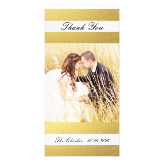 CHIC GOLD PRINT | WEDDING THANK YOU PHOTO PHOTO CARD TEMPLATE
