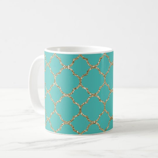 Chic Gold Quatrefoil Teal White Coffee Mug