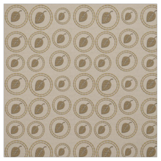 Chic Gold Rings Leaf Pattern Linen Fabric